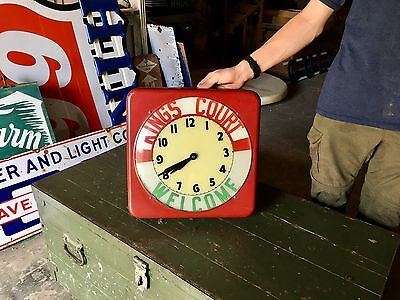Original Vintage Kings Court Diner Advertising Lighted Clock by Dualite Rare!