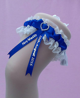 Royal Blue Personalised Wedding Garter - with a lucky sixpence