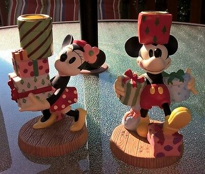 Disney MICKEY & MINNIE MOUSE Candle Holders 1998 Presents Party