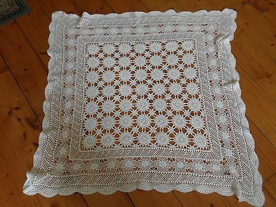 white Crocheted vintage cotton table cloth square