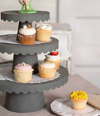 New Vintage Style 3 Tiered Stacking Scalloped Cupcake Stand Barn roof finish.