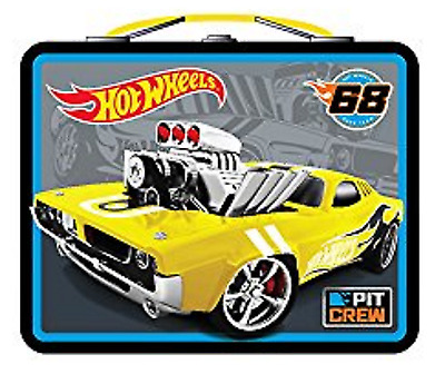 """Hot Wheels Square Carry All Tin Lunch Stationery Box - """"Pit Crew"""""""