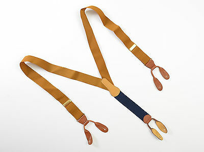 Coach Mens Suspenders Leather Brown Blue Straps Braces Brass