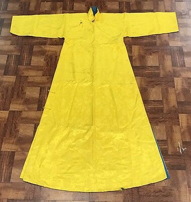 Amazing Antique Chinese Yellow Silk Chuba Robe Embroidered