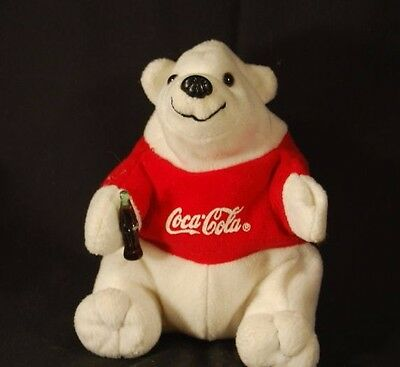 "White Polar Bear Coca Cola Bean Bag  6"" Plush Stuffed Animal Lovey Toy"