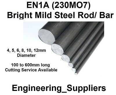 EN1A Bright Mild Steel Metal Rod/ Bar 4, 5, 6, 8, 10, 12mm Dia 100 - 600mm long