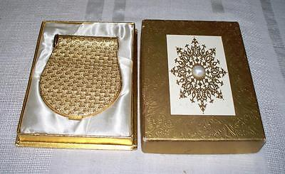 """Vintage Golden Metal Duette Compact Coty """"24"""" Lipstick French Flair In Box"""