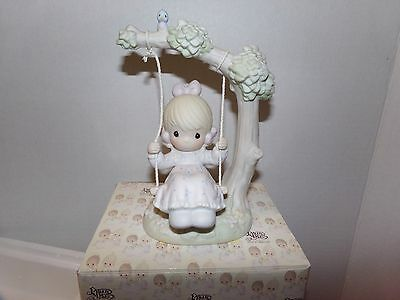 """Collectible 1991 Precious Moments """"My Warmest Thoughts Are You"""" Girl Swing NIB"""