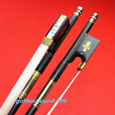 1pc black 4/4 Carbon fiber violin bow professional white horse hair Ebony frog