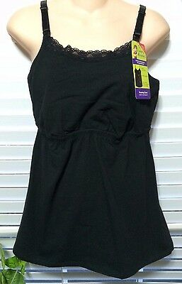 Loving Moments Sz Extra Large Nursing Cami, Fitted Waist, Black Easy Open Clasp