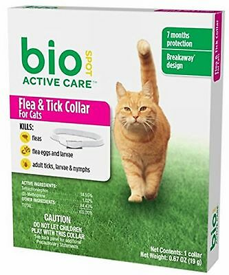 Bio Spot Active Care Breakaway Flea & Tick Collar for Cats 7 month Protect..