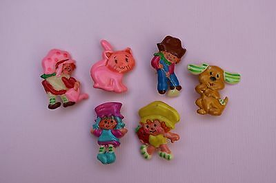 Vintage Strawberry Shortcake Rare set of 6 pins - Blueberry, Pupcake, Huck - NOS