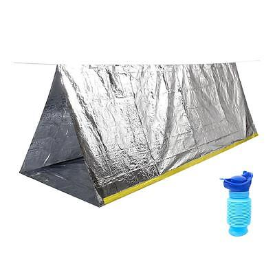 Camping Travel 2 Person Survival Emergency Shelter Tarp with Portable Urinal