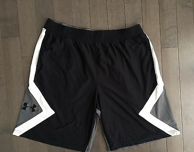 Mens Blue Under Armour Athletic Shorts XL Loose 2 Side Pockets Black Gray White