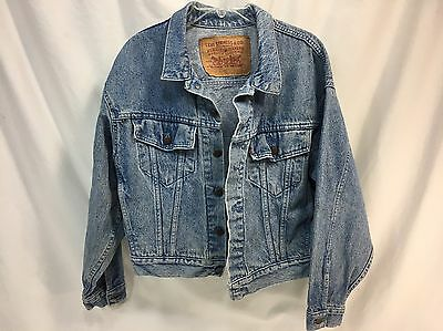 Vintage Levi's Denim Trucker Jean Jacket Coat Made in USA Size Small Red Tab EUC