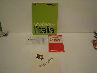 Lot Of 4 Vintage Italy ITEMS -  TWA MAP   ALITALIA ROUTES LORY'S CURRENCY GUIDE