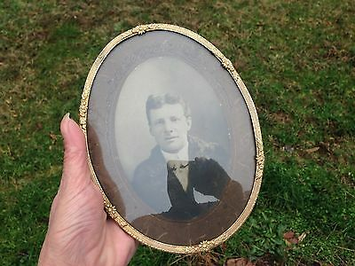 """Antique Brass Oval Floral Picture Frame-Convex Glass-Germany-7 1/4"""""""
