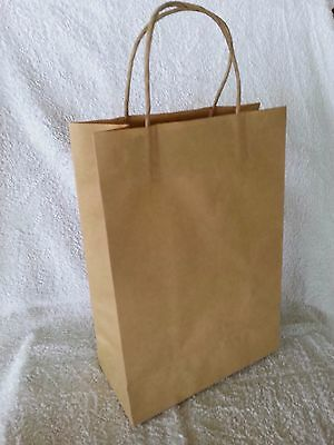 50 x JUNIOR Kraft Brown Paper Gift Carry Shopping Bags with handles 290x200x100