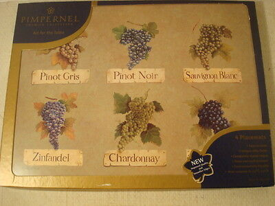 Pimpernel Set Of 4 Placemats Grapes & Wine Motif Cork Backed England New In Box