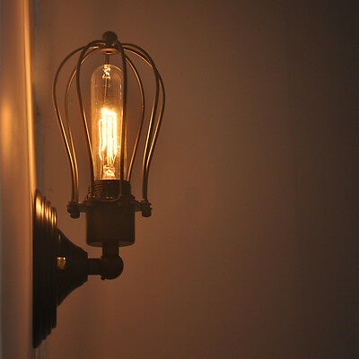 Industrial Vintage Wire Cage Wall Lamp Sconce Light Fixture Freebulb Rustic Bar