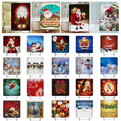Christmas 30 Styles Xmas 3D Printed Bathroom Shower Curtain Waterproof Decor