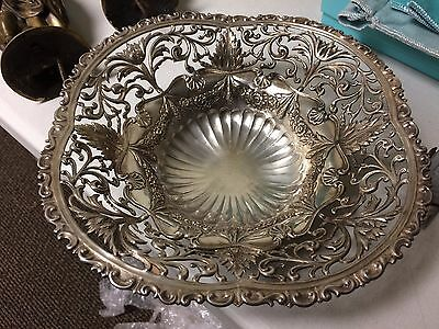 Gorham sterling Silver Fancy Pierced Repousse Footed Bowl Date 1892 3395 No Mono