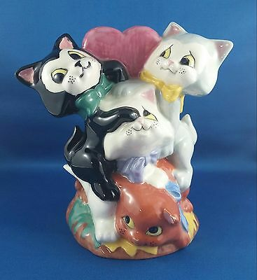 Adorable Vintage Hand Painted vase - Cartoon Style - litter of Kitty Cats