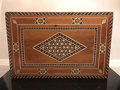 Antique Micro Mosaic Inlaid Wood w Marquetry & Mother of Pearl Inlay Sadeli Box