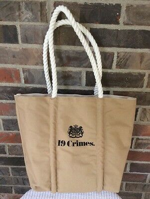 19 Crimes Wine Tan Canvas Tote Bag Satchels New York NWOT