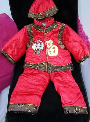 Reborn baby doll 3 piece ASIAN red outfit shirt pants hat toddler size 18 mo- 2T