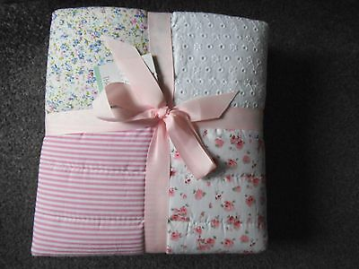 NEXT Vintage Pink Multi Patchwork Girls Throw New & Tagged 100x150cm