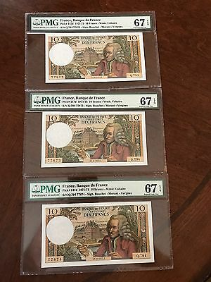 French France 3 Running  Banknotes 10 Francs Voltaire PMG 67 GEM UNC EPQ 1972