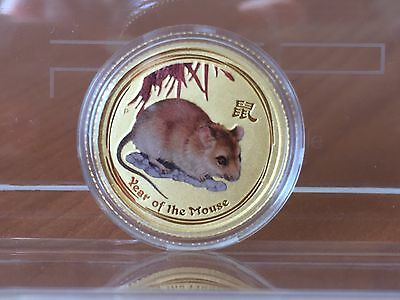 2008 -1/10 oz Australian Lunar Year of the Mouse 9999 pure coloured gold coin.