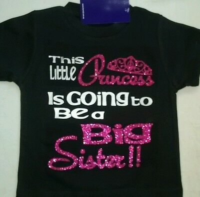 Going to be a PRINCESS BIG SISTER T-Shirt Custom GLITTER Colours Pregnancy Annou