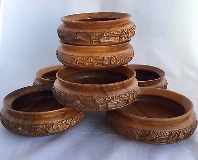 Wood Carved Salad Bowls Set 8 Wooden Island Asian