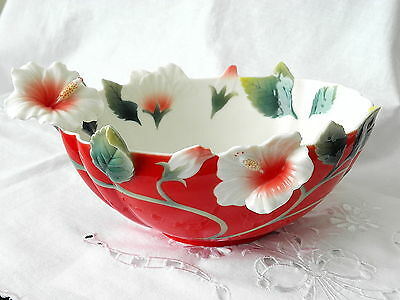 Franz Porcelain ~ Island Beauty ~ Hibiscus Flower Bowl ~ Pristine Condition