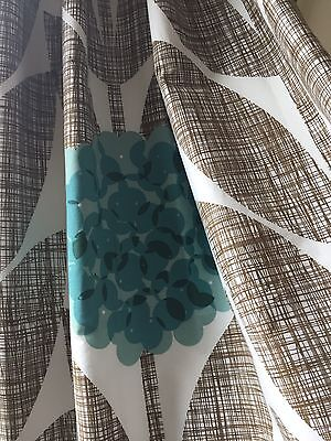 Stunning 100% Cotton Orla Kiely Blossom Blackout Lined Pair of Curtains