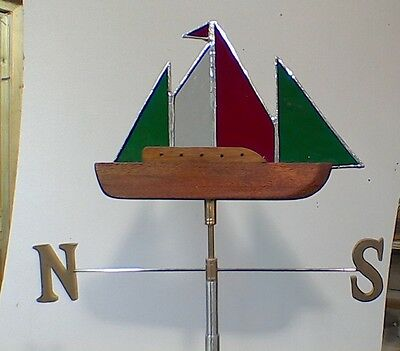stained glass yacht windvane for garden or shed with N/S/E/W pointer.