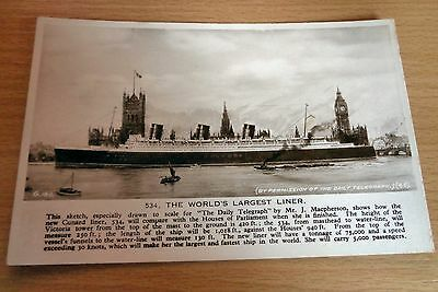 "Cunard Liner ""534"" World's Largest Liner Houses of Parliament London Queen Mary"