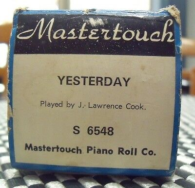 Pianola Roll Yesterday Abba J Lawrence Cook Mastertouch Word Roll S6548 Vintage