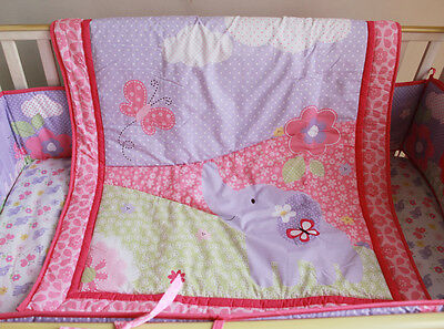 Baby Bedding Crib Cot Quilt Set 5pcs Quilt Bumper Sheet Dust Ruffle Nappy S