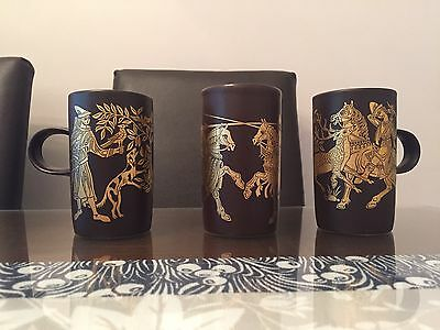 3 Vintage 70S Purbeck Pottery Brown / Gold Medieval Mugs