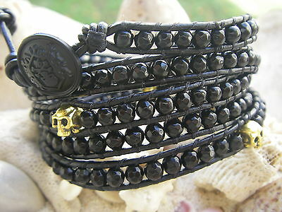 5 wraps kooples button golden skulls faceted onyx beads black leather handmade