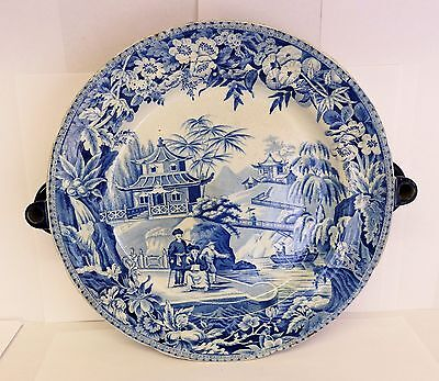 Antique Devonport blue & white printed warming plate.