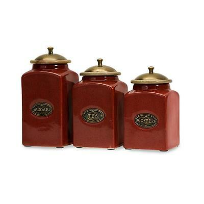 French Country Kitchen Ceramic Canisters Set Of 3 Coffee Tea Sugar Tuscan Red