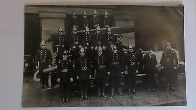 Old Postcard Fire Engine And Firemen.