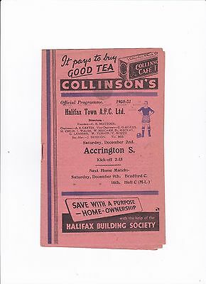 1950/51 Halifax Town v Accrington Stanley (Division 3 North)