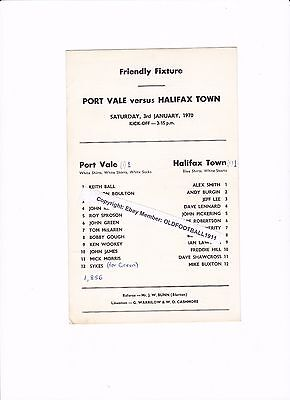 1969/70 PORT VALE v HALIFAX TOWN (Friendly) RARE Single Card