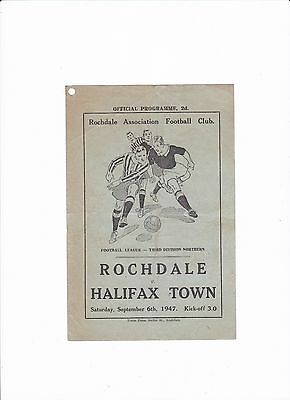 1947/48 ROCHDALE v HALIFAX TOWN (DIVISION 3 NORTH) 4-PAGE