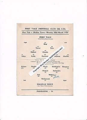 1953/54 PORT VALE v HALIFAX TOWN (Division 3 North) - RARE SINGLE CARD